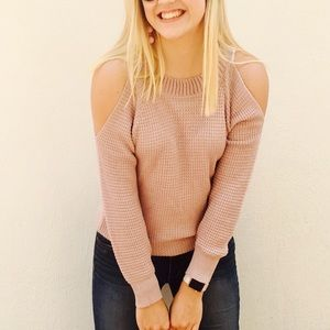 Blush cold shoulder sweater